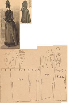 Der Bazar 1889: Cloth walking dress; 1. skirt's side drapery, 2. side gore, 3. side part, 4. back part in half size, 5. standing collar in half size, 6. lapel collar in half size, 7. and 8. sleeve parts
