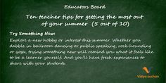 Tips for getting the most out of your summer (tip 5)