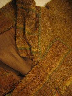 995 - 1029, Skjoldehamn shirt, norway, detail of collar. 2/2 twill wool.