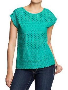 Womens Eyelet Tops   Old Navy. Love the color and the texture of this. My style goal is to embrace print and texture. #fetchstyle