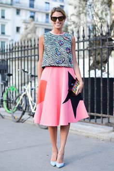 Helena Bordon's Best Street Style Outfits - Pop art pink midi skirt + quirky patterned sleeveless top