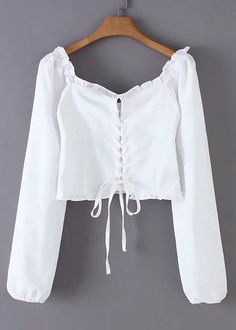 Lace-up Tie Front Crop Blouse Kpop Outfits, Teen Fashion Outfits, Fashion Dresses, Hijab Fashion, Myanmar Traditional Dress, Traditional Dresses, Myanmar Dress Design, Choli Designs, Crop Blouse