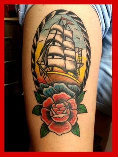 caravel old school rose tattoo