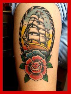 caravel old school rose tattoo