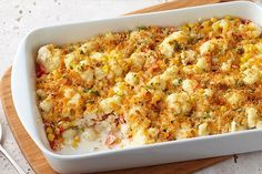 Get out the casserole dish for our Creamy Baked Cauliflower recipe! The family will love this cheesy baked cauliflower with sweet corn and garlic dish Cheesy Cauliflower, Cauliflower Casserole, Cauliflower Recipes, Roasted Cauliflower, Corn Recipes, Kraft Recipes, Ww Recipes, Healthy Recipes, Cheese Recipes