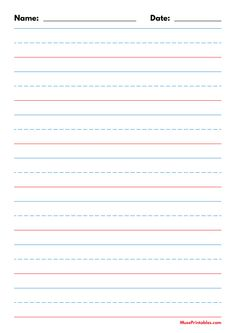 Printable Blue and Red Name and Date Handwriting Paper (1-inch Portrait) for A4 Paper A4 Paper, Printable Paper, Phonics, Handwriting, Free Printables, Dating, Templates, Portrait