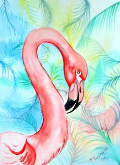 Flamingo on abstract background, original large watercolor painting, modern abstract painting, birds painting, bright