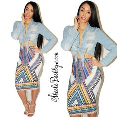 NEW ARRIVALS!!! Yes we are keeping the me arrivals coming. Log onto SteelePretty.com and click new and add the tribal midi skirt to your cart.