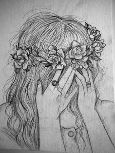 my pencil sketch of a girl with rose headband