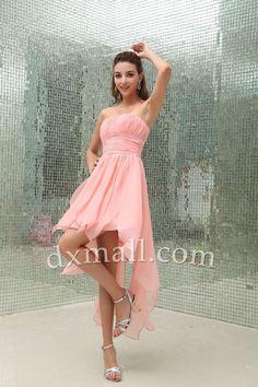 Asymmetrical Wedding Guest Dresses Strapless Short/Mini Chiffon Pink 130010800027