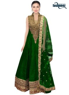 Make the heads flip whenever you costume up with this green net and raw silk…
