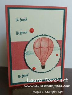 Today is Technique Tuesday and I'm sharing with you a fun masking technique with the Above the Clouds Stampin' Up Stamp Set! Air Balloon, Balloons, Solid Background, Stampin Up Catalog, Stamp Pad, Punch Out, Above The Clouds, Happy Tuesday, Anniversary Cards