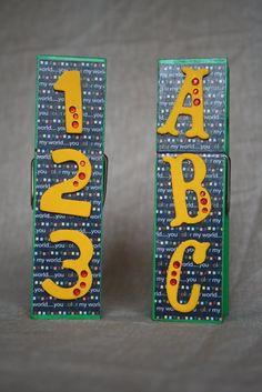 ABC/123 Extra Large Clothespin Photo/Note Holder set of 2