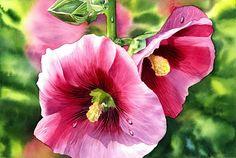 Hollyhock ORIGINAL watercolor painting beautiful flowers