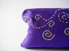 Cotton pouch cosmetic make up large purple ombre by clode83, €10.00 #pursue, #purple #handmade #spiral #ombre #makeup