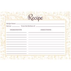 Water Resistant Recipe Cards, Set of 48, 4x6 inches, Champagne Lace for Bridal Shower and Newlyweds