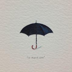 Day 75 : Film industry logic: if it rains, we cancel the shoot; if it doesn't, we get a rain-machine. #365paintingsforants #black #umbrella #rain