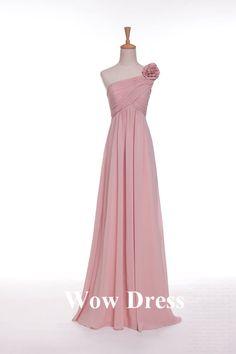 Pink Bridesmaid Dress/ Long Bridesmaid Dress/ One Shoulder Dress/ Flower Decoration/ Homecoming Dress on Etsy, $92.31 AUD