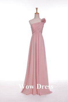 Pink Bridesmaid Dress/ Long Bridesmaid Dress/ One Shoulder Dress/ Flower Decoration/ Homecoming Dress on Etsy, $92.31 AUD