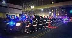 braveresponders: Boston FD escorts one of their fallen fire fighters out of the hospital to the funeral home.