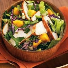 www.edamam.com    This is a romaine salad with grilled chicken and mango. It sounds and looks delicious and is perfect for lunch! I would switch the romaine for arugula or spinach (or a combination of both) and add more vegetables in there (ie peppers, cucumbers, mushrooms). Mangoes are too sweet for my taste so I would substitute an apple or some strawberries!