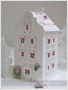 pretty white advent calendar house