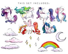 Watercolor Chubby Unicorns Clipart Set INSTANT by AntlerAndTwine