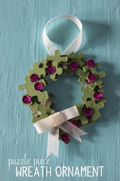 Puzzle Piece Wreath Ornament {Mama.Papa.Bubba.}