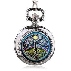 Silver Tree Of Life Quartz Pocket Watch Necklace