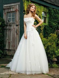 A-line Strapless Wedding Dresses