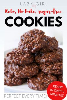 Keto No Bake Cookies - Ready In 5 Minutes, Perfect Every Time! Glorious, fudgy, completely satisfying keto sugar-free treat and they melt in your mouth. Keto Foods, Ketogenic Recipes, Keto Snacks, Keto Recipes, Dessert Recipes, Keto Meal, Diabetic Recipes, Ketogenic Diet, Soup Recipes