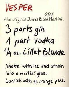 The orig james bond cocktail Lillet vesper James Bond Wedding, James Bond Party, James Bond Theme, James Bond Games, Cocktails, Cocktail Drinks, James Bond Casino, Estilo James Bond, Martini Recipes