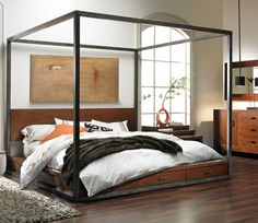 Canopy Bed Modern modern canopy bed complete with white floor-to-ceiling drapes, a