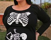 Skeleton Maternity Iron On Applique Halloween Costume. too funny! @Lena Campbell