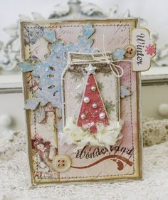 Shabby Christmas Card...with buttons & pearl s...by lilybean's paperie.
