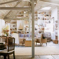 wood, beams, brick, light and bookcase, what more could you ask for...coastal interiors-Dying Cute