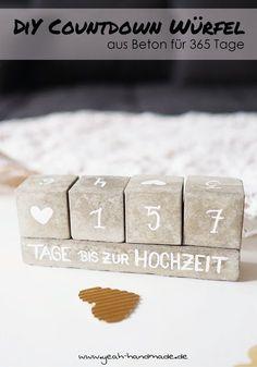 DIY 365 Tage Countdown Würfel aus Beton selbermachen. Perfekt, wenn man die Tage bis zum Urlaub, der Hochzeit, dem Geburtstag oder Weihnachten zählt, weil man dem Ereignis so entgegenfiebert. DIY Anleitung mit kostenloser Druckvorlage für die Beton Förmchen auf Yeah Handmade.