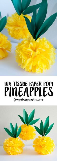Get on the pinapple trend with these tissue paper pom pineapples - perfect for a pool party decoration or luau!