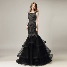 Cheap prom gown, Buy Quality black evening dress directly from China evening dress Suppliers: Black Evening Dresses 2018 New Arrival Luxury Beaded Crystals Mermaid Long Formal Celebrity Dress Ruffles Train Prom Gowns Long Black Evening Dress, Cheap Evening Dresses, Mermaid Evening Dresses, Evening Gowns, Formal Dresses, Gown Party Wear, Dinner Gowns, Homecoming Dresses, Prom Gowns