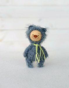 miniature Teddy bear, Blythe friend artist teddy bears miniature teddy bear Blythe friend toy crochet teddy bear ooak teddy bear