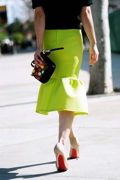 HallieDaily: Michael Kors Knit top and Lime Peplum Skirt