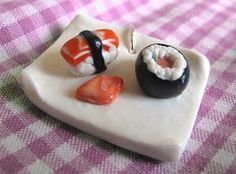 Charm sushi plate cernit fimo handmade polymer clay