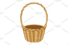 Single handle wicker basket isolated illustration on white Graphics Wicker basket with long single central handle isolated vector illustration on white. Type of contain by kanva777