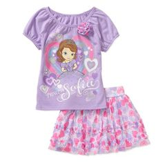Disney Sofia the First Baby Toddler Girl Tee and Skirt Outfit Set