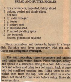 Recipe Clipping For Bread & Butter Pickles *I LOVE bread & butter pickles! They're the BEST! Retro Recipes, Old Recipes, Canning Recipes, Vintage Recipes, Family Recipes, Canning Tips, Drink Recipes, Bread & Butter Pickles, Bread N Butter