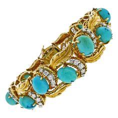 Hammerman Brothers Turquoise Diamond Gold Bracelet