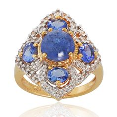 Tanzanite White Topaz 925 Sterling Silver Ring by ArihantJewelry