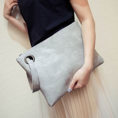 Women Envelope Clutch Evening Bag (Color: Gray) | Save upto 25% with us |  Visit our website now  uniquefashionusa.com