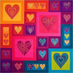 Silk Hearts Quilt by Sarah Vedeler