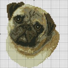 Hand Embroidery Patterns Free, Counted Cross Stitch Patterns, Cross Stitch Charts, Cross Stitch Designs, Cross Stitch Embroidery, Pugs, Beagle, Pug Cross, Dog Crafts